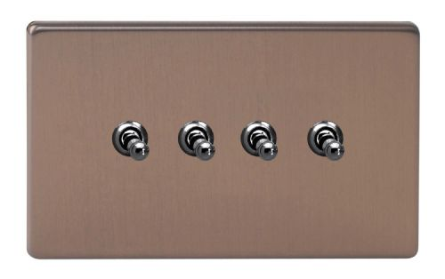 Varilight XDYT9S.BZ Screwless Brushed Bronze 4 Gang 10A 1 or 2 Way Toggle Light Switch